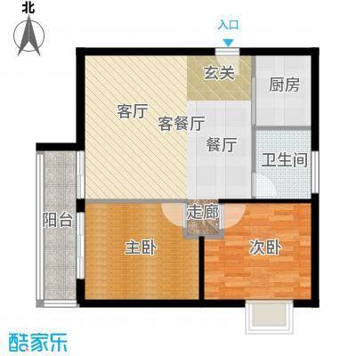 阳光雅筑户型2室1厅1卫1厨