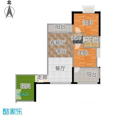 翠屏领东天河D08东北向户型2室1厅1卫