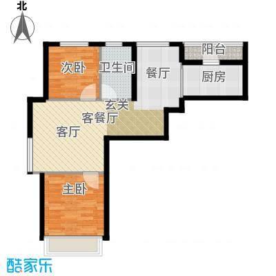 尚海华庭81.00㎡F户型2室2厅1卫