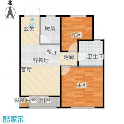 海航YOHO湾79.61㎡C户型两室两厅一卫79.61平米户型图户型2室2厅1卫