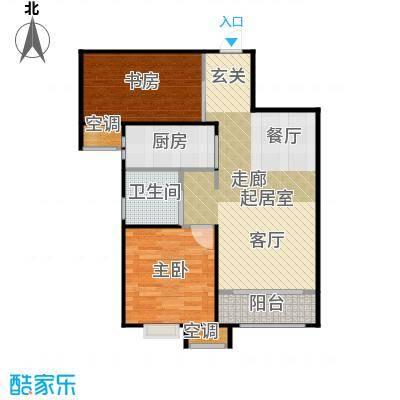 中建城两室两厅一卫建筑面积87平米户型2室2厅1卫