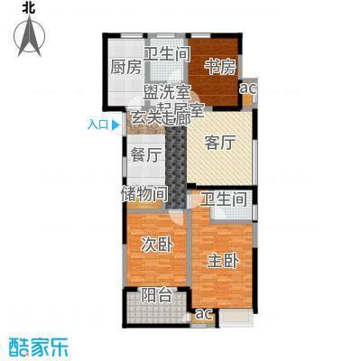 顺天花苑116.00㎡三房两厅两卫 116平米户型3室2厅2卫