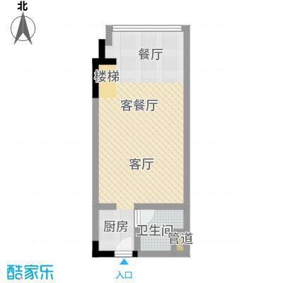 漕湖之星40.00㎡漕湖之星户型图2、5#现代户型一层(1/2张)户型2室2厅2卫