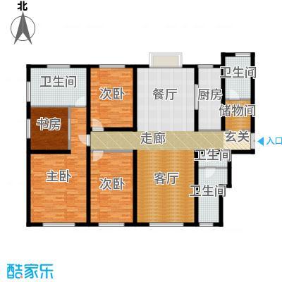 天津大都会212.00㎡D1户型 四室二厅一卫户型4室2厅1卫