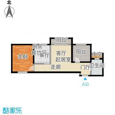 左岸阳光67.45㎡一室一厅一卫户型1室1厅1卫