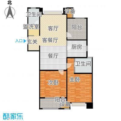 九龙仓繁华里123.00㎡C2户型 2房2厅2卫户型2室2厅2卫