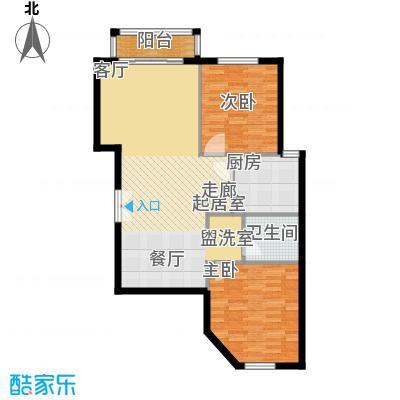 丽都壹号88.53㎡D01反户型2室2厅1卫1厨户型2室2厅1卫
