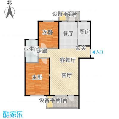 万达金石天成89.02㎡B户型二室二厅一卫户型2室2厅1卫