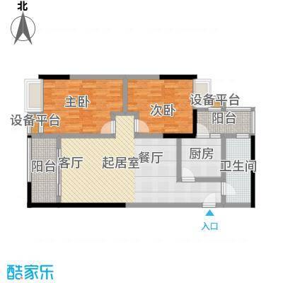 西湾阳光南座19-32层B户型2室1卫1厨