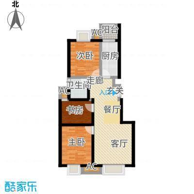 天恒乐活城D588.00㎡图为D户型 两室两厅一卫户型3室2厅1卫