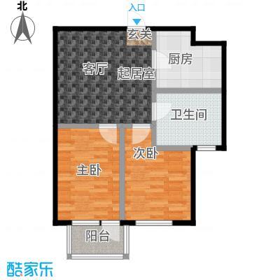 连大文润金宸65.04㎡E户型 2室1厅户型