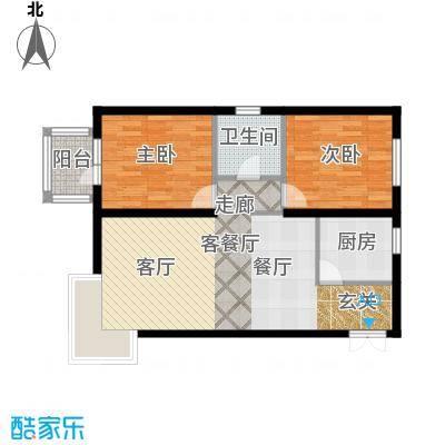 京洲世家94.00㎡D户型2室2厅1卫