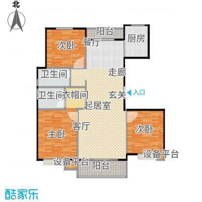 北环盛世150.46㎡2#楼1单元2层西户户型3室2厅2卫