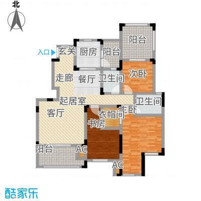 香漫溪岸142.55㎡洋房1号楼2单元3楼1号,两室两厅双卫户型2室2厅2卫