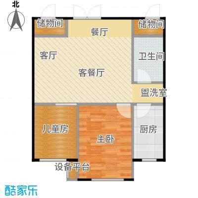 海航YOHO湾64.79㎡B户型两室一厅一卫64.79平米户型图户型2室1厅1卫