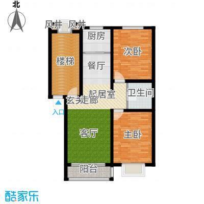 溪峰尚居92.40㎡F2户型2室2厅1卫