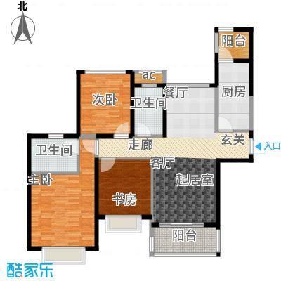 合景叠翠峰111.00㎡C户型 面积约111平米户型3室2厅2卫