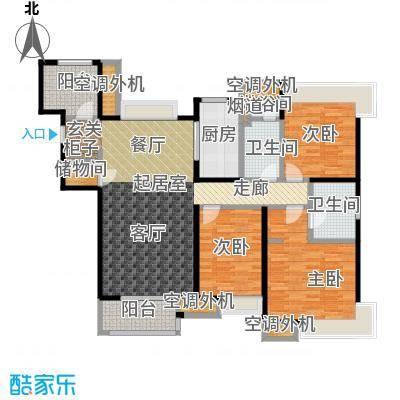 九龙仓玺园140.00㎡高层U户型3室2厅2卫