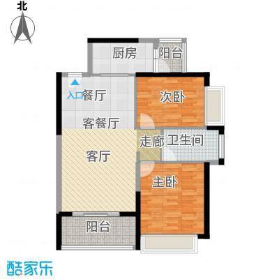 恒大银湖城20栋3-24层01户型2室1厅1卫1厨