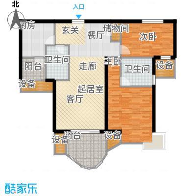 天山河畔花园104.53㎡房型: 二房; 面积段: 104.53 -106.65 平方米; 户型