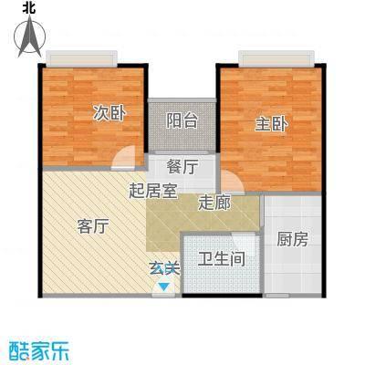 东海阳光66.91㎡户型2室1卫1厨