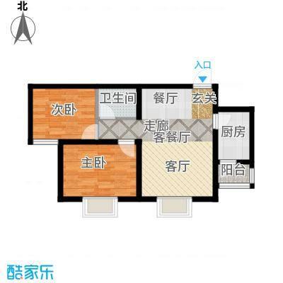 攀华未来城二期2-3、5-7、41号楼标准层A3号房户型2室1厅1卫1厨
