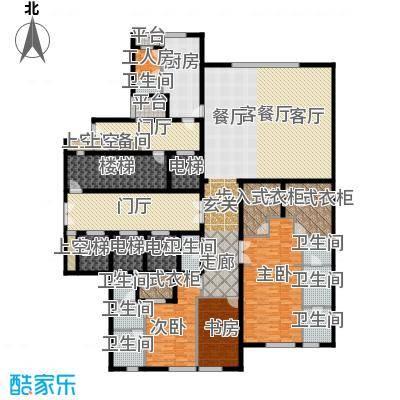 万达公馆335.00㎡1号楼B户型三室二厅四卫户型3室2厅4卫