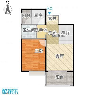 东海阳光48.79㎡户型1室1卫1厨