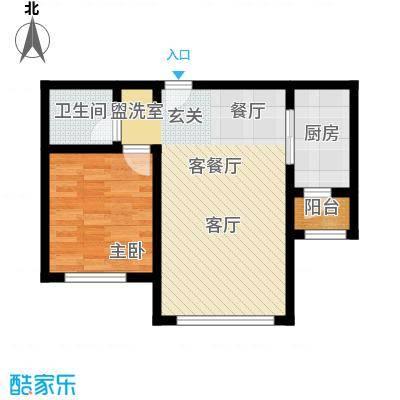 东方晨曲花苑72.44平户型1室2厅1卫X