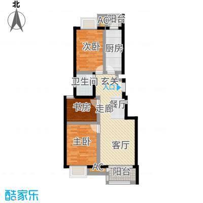 天恒乐活城D591.00㎡图为D3户型 三室两厅一卫户型3室2厅1卫