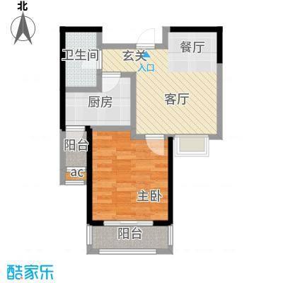 朗钜帕蒂奥20号楼E户型-1室2厅1卫户型