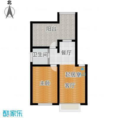 青石花语63.00㎡G、63平方米户型图户型1室2厅1卫