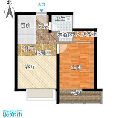中信海港城54.00㎡海景公寓C户型一室一厅一卫户型1室1厅1卫