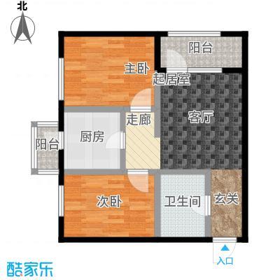 连大文润金宸65.38㎡A户型 2室2厅户型