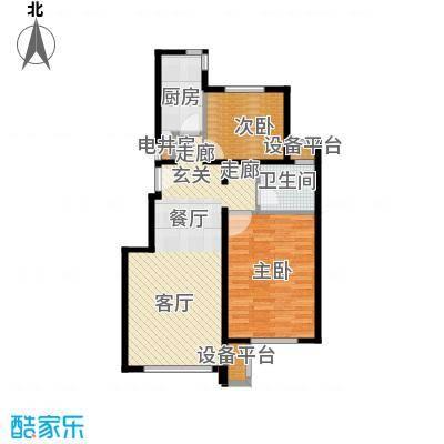 北京苏活90.56㎡北京苏活户型图4、5、6、7号楼G户型两室两厅一卫(1/8张)户型2室2厅1卫