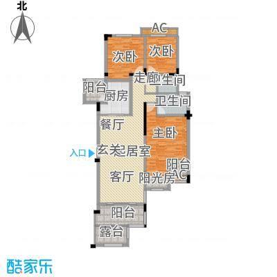 金科天湖小镇132.00㎡39号楼B户型 三室两厅两卫 赠送面积10平米户型3室2厅2卫