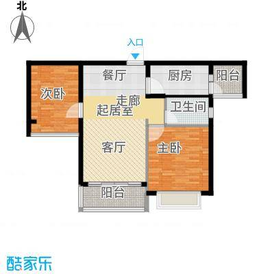 合景峰汇国际85.00㎡A户型2室1卫1厨