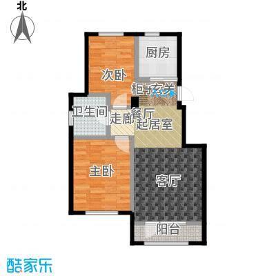中拥塞纳城L户型两室两厅一卫,80.27-80.91平米户型
