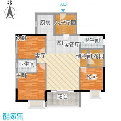 现代印象华庭108.78㎡2-B户型3室1厅2卫