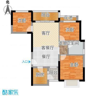 恒大银湖城20栋3-24层04户型3室1厅1卫1厨