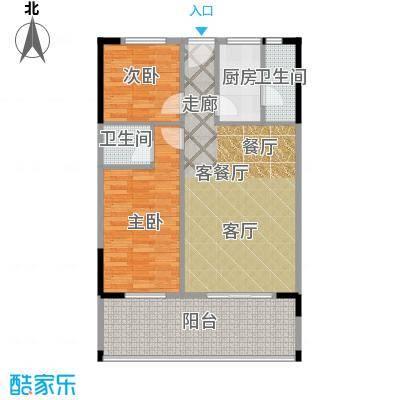 丽湾花园84.68㎡户型2室1厅2卫1厨