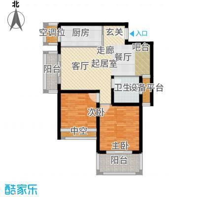 银河湾第1城87.80㎡二期D户型2室2厅1卫户型2室2厅1卫