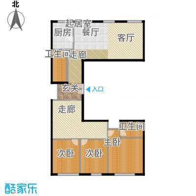 北京ONE189.25㎡图为户型3室2卫1厨