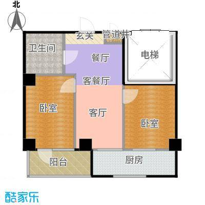 南山学府71.25㎡4号楼6楼2号 二室二厅一卫户型2室2厅1卫