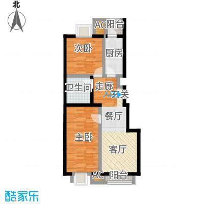 天恒乐活城D581.00㎡图为E户型 两室两厅一卫户型2室2厅1卫