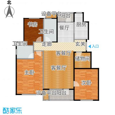 万达金石天成126.07㎡M户型三室二厅二卫户型3室2厅2卫