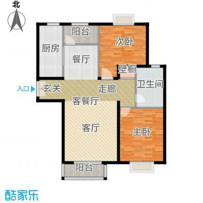 住总尚清湾102.37㎡两室两厅户型2室2厅1卫