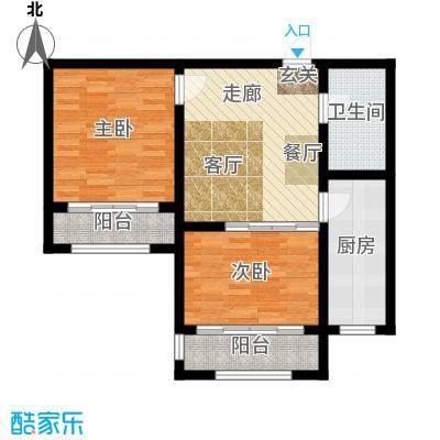富城国际86.00㎡B户型2室1厅1卫