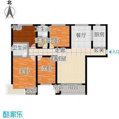 鲁商凤凰城166.00㎡E户型 四室两厅一卫户型4室2厅2卫