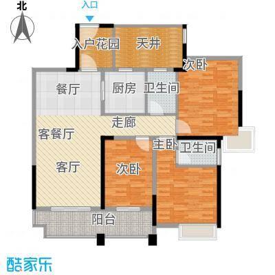 君�花园智本精英房C户型3室1厅2卫1厨